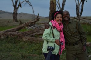 Dr. Paula Kahumbu with Ian Lemaiyan at Lewa Wildlife Conservancy during the filming of the Wildlife Warriors episode Lewa Rhinos © Ken Gitau
